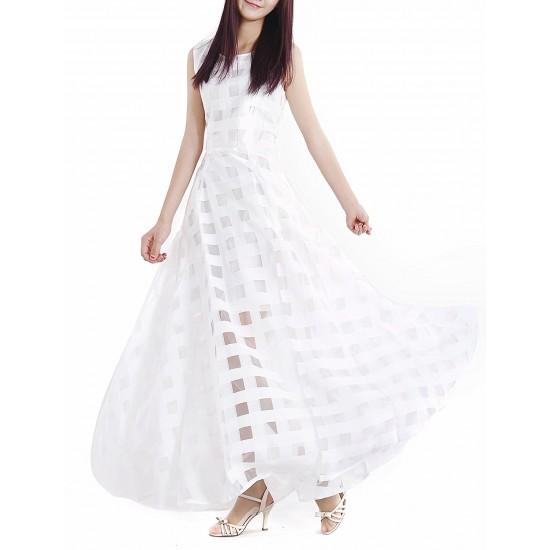 Women White Temperament Summer Beach Long Maxi Dress WC-124W image