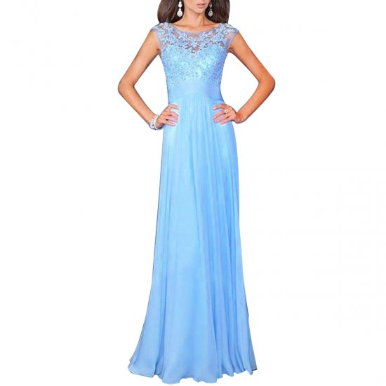 Elegant Light Blue Women Long Maxi Evening Party Dress WC-125 image