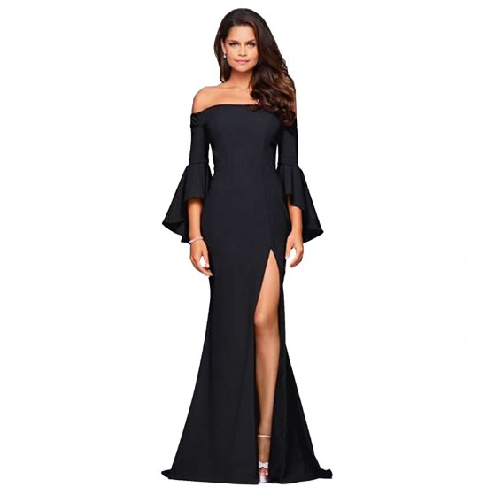 European Style Sexy Word Collar Split Women Black Evening Party Dress WC-126BK