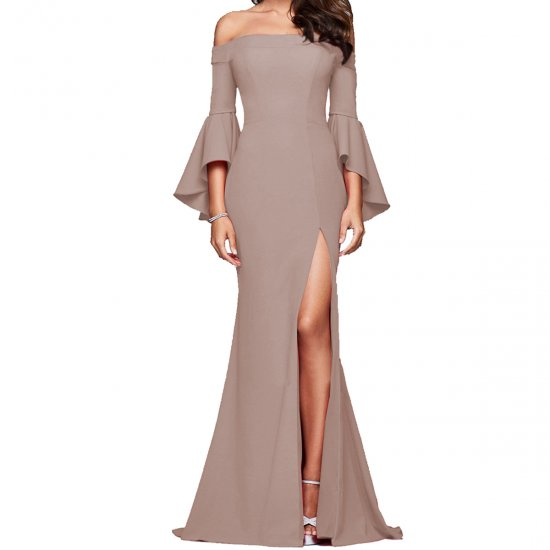 European Style Sexy Word Collar Split Women Brown Evening Party Dress WC-126BR image