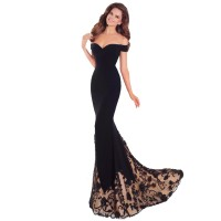 European Design Black Wrapped Chest Strapless Gown Party Dress WC-127