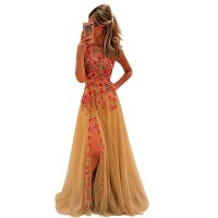 Women Backless Basic Section Embroidery Long Sleeveless Evening Party Dress WC-128