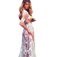 Summer Sexy Long Transparent Lace Round Neck Evening Dress WC-129