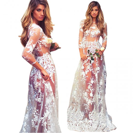 Summer Sexy Long Transparent Lace Round Neck Evening Dress WC-129 image