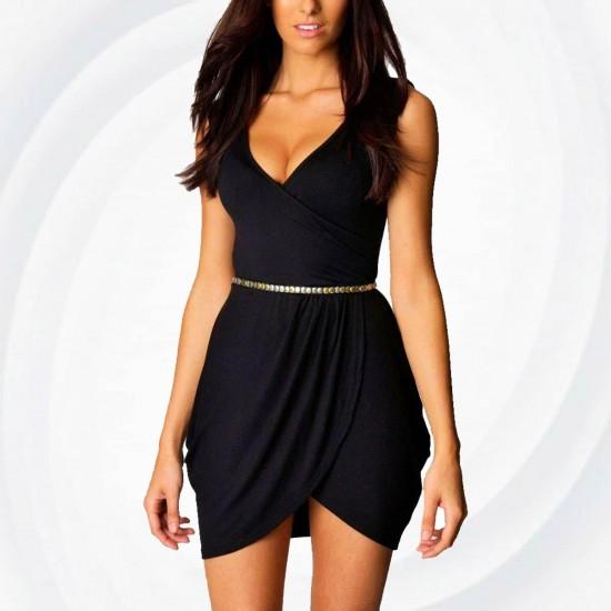 Black hot Elegant v-neck Tulip Shape Evening Party Midi Dress WC-130BK image