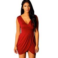 Red hot Elegant v-neck Tulip Shape Evening Party Midi Dress WC-130RD