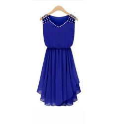 European Style Summer Slim Elegant Diamond Strap Irregular Chiffon Dress WC-131BL