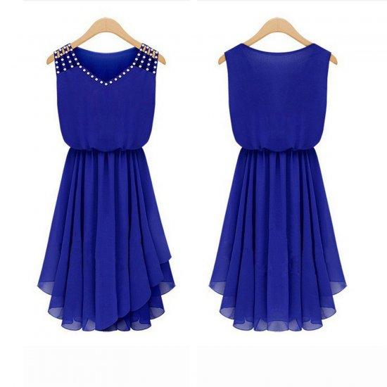 European Style Summer Slim Elegant Diamond Strap Irregular Chiffon Dress WC-131BL image