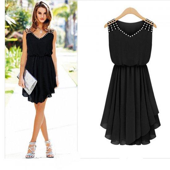 European Style Summer Slim Elegant Diamond Strap Irregular Chiffon Dress WC-131BK image