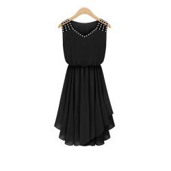 European Style Summer Slim Elegant Diamond Strap Irregular Chiffon Dress WC-131BK