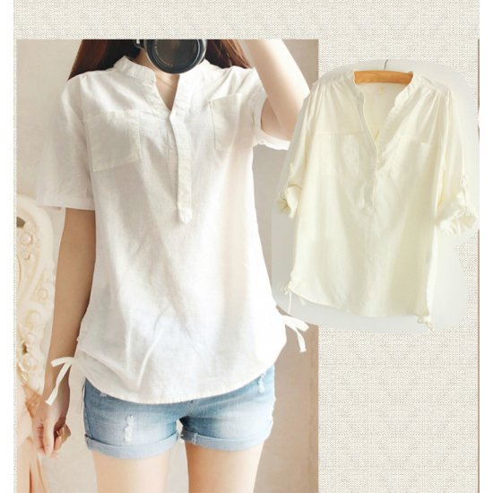 Women White Cotton And Linen Short-sleeved Shirt WC-132W