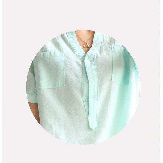 Women Light Green Cotton And Linen Short-sleeved Shirt WC-132LG image