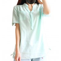 Women Light Green Cotton And Linen Short-sleeved Shirt WC-132LG