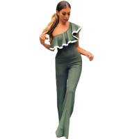 European Style Ladies Summer Green One Shoulder Ruffle Jumpsuit WC-133GN