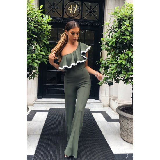 European Style Ladies Summer Green One Shoulder Ruffle Jumpsuit WC-133GN image
