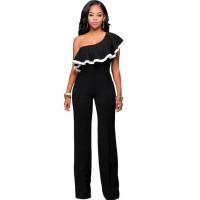European Style Ladies Summer Black One Shoulder Ruffle Jumpsuit WC-133BK