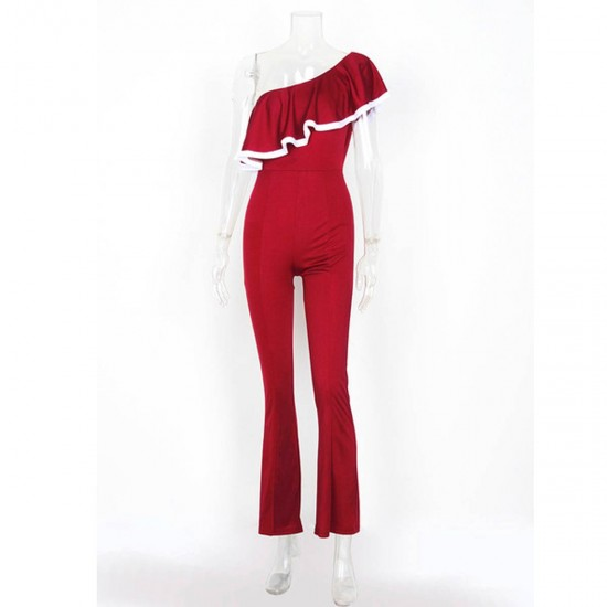 European Style Ladies Summer Red One Shoulder Ruffle Jumpsuit WC-133RD image