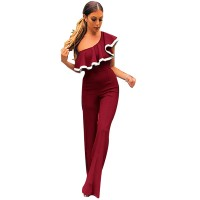 European Style Ladies Summer Red One Shoulder Ruffle Jumpsuit WC-133RD