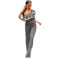 European Style Ladies Summer Grey One Shoulder Ruffle Jumpsuit WC-133GY