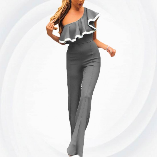 European Style Ladies Summer Grey One Shoulder Ruffle Jumpsuit WC-133GY image