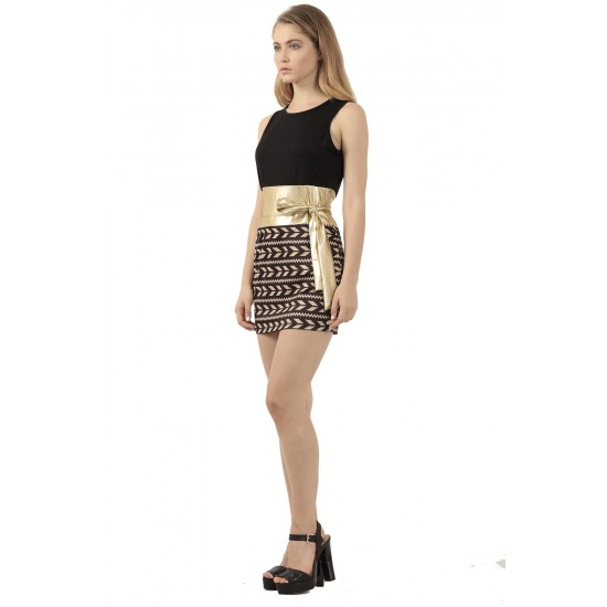 Ladies Hot Black Top & Stitched Printed Skirt Bodycon Dress WC-134 image