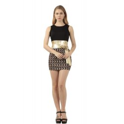 Ladies Hot Black Top & Stitched Printed Skirt Bodycon Dress WC-134