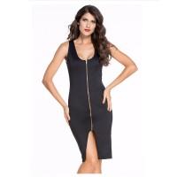Women New Sexy Fashion Zipper Black Sleeveless Hip Pencil Skirt Dress WC-135BK