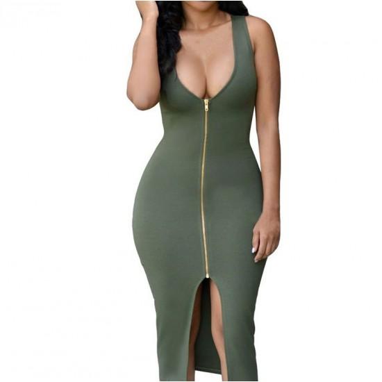 Women New Sexy Fashion Zipper Green Sleeveless Hip Pencil Skirt Dress WC-135GN image
