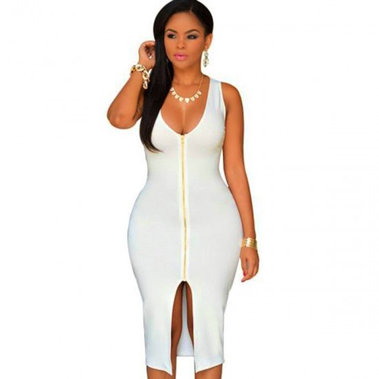 Women New Sexy Fashion Zipper White Sleeveless Hip Pencil Skirt Dress WC-135W image