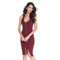 Women New Sexy Fashion Zipper Red Sleeveless Hip Pencil Skirt Dress WC-135RD