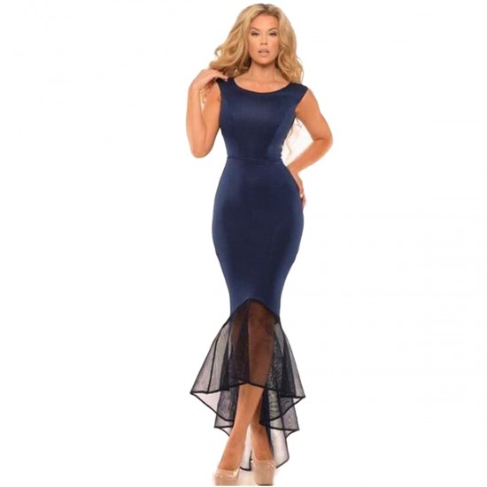 Women Blue Mermaid Fishtail Sleeveless Long Party Slim Fitted Hip Dress WC-136BL image