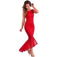 Women Red Mermaid Fishtail Sleeveless Long Party Slim Fitted Hip Dress WC-136RD