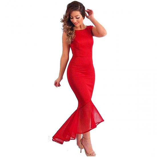 Women Red Mermaid Fishtail Sleeveless Long Party Slim Fitted Hip Dress WC-136RD image