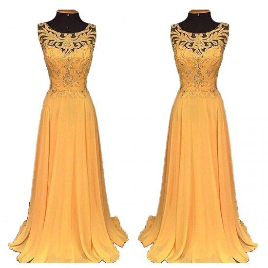 Women Elegant Orange Long Chiffon Embroidery Beaded Hollow Maxi Dress WC-137 |image