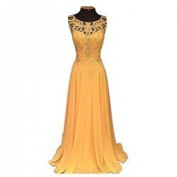 Women Elegant Orange Long Chiffon Embroidery Beaded Hollow Maxi Dress WC-137