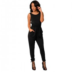 Women Sexy Long Jumpsuit O-Neck Sleeveless Loose Rompers Dress WC-138BK