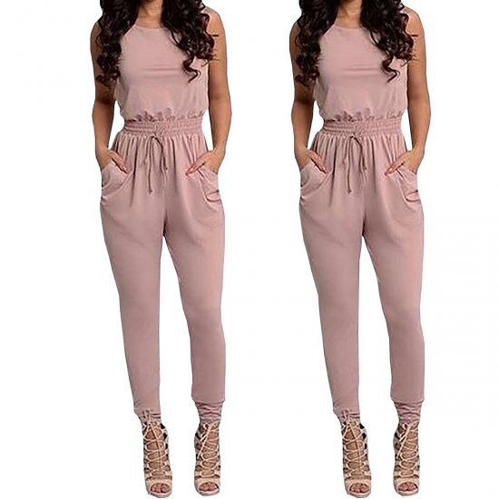Women Pink Sexy Long Jumpsuit O-Neck Sleeveless Loose Rompers Dress WC-138PK image