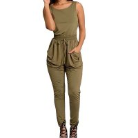 Women Green Sexy Long Jumpsuit O-Neck Sleeveless Loose Rompers Dress  WC-138GN