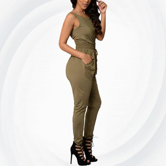 Women Green Sexy Long Jumpsuit O-Neck Sleeveless Loose Rompers Dress WC-138GN image