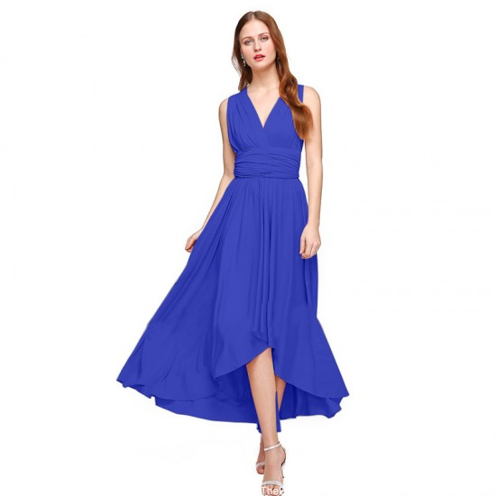 Women Blue Summer Elegant Tank Backless High Waist Long Party Dress WC-139BL image