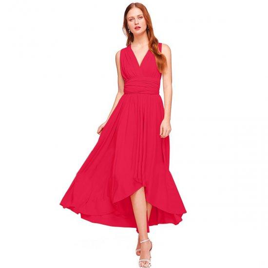 Women Red Summer Elegant Tank Backless High Waist Long Party Dress WC-139RD image
