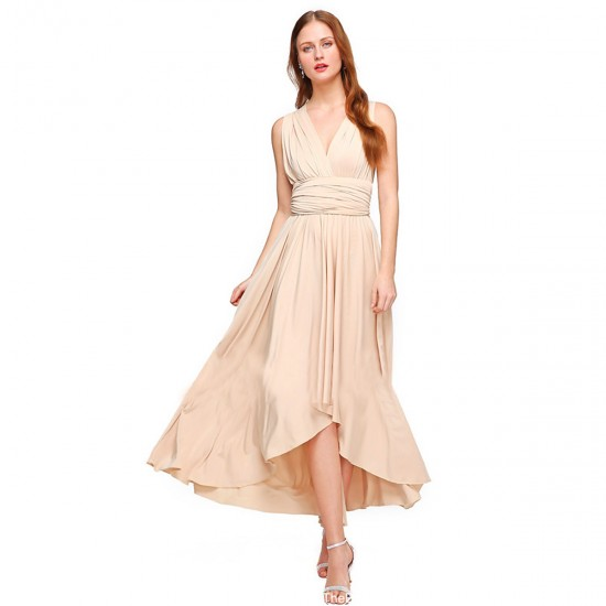 a69973708ef Women Cream Summer Elegant Tank Backless High Waist Long Party Dress  WC-139CR image