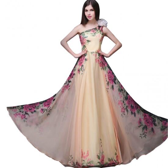 Women Stylish Chiffon One-shoulder Floral Printed Sleeveless Evening Dress WC-140 |image