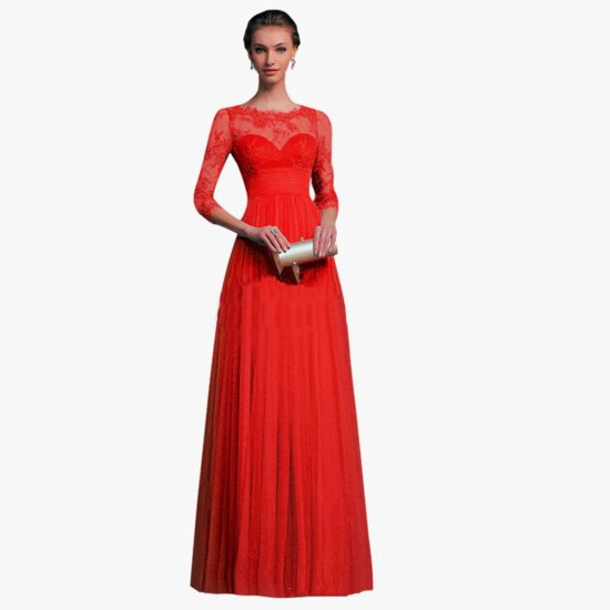 Long Sleeves Chiffon Slim Fit Maxi Evening Gown For Women WC-141RD image