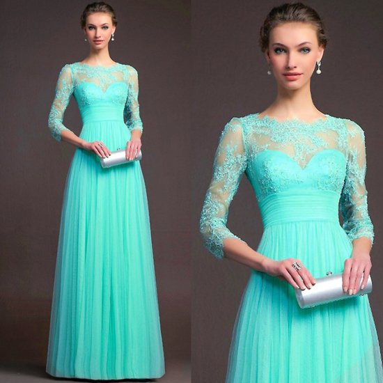 Long Sleeves Blue Chiffon Slim Fit Maxi Evening Gown For Women WC-141BL |image