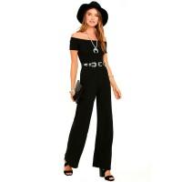 Latest Trending Off The Shoulder Black Wide Pants Jumpsuit Women Dress WC-142BK
