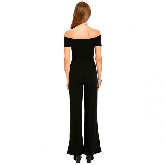 Latest Trending Off The Shoulder Black Wide Pants Jumpsuit Women Dress WC-142BK image