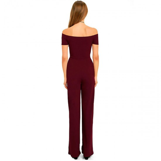 Latest Trending Off The Shoulder Red Wide Pants Jumpsuit Women Dress WC-142RD image