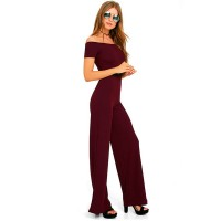 Latest Trending Off The Shoulder Red Wide Pants Jumpsuit Women Dress WC-142RD