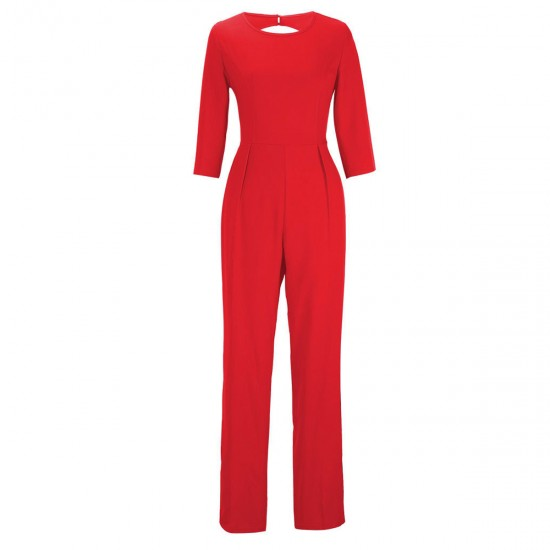 Women Summer Red Sexy Leak Back Jumpsuit Trousers Dress WC-143RD image